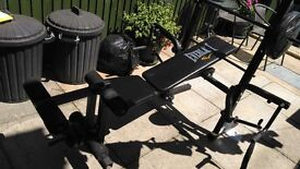 Everlast weights bench with flies and leg extension attachments