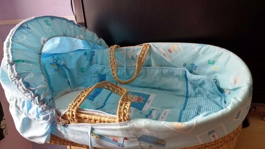 Blue boat/nautical Moses basket