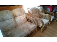 Cane sofa and chairs