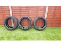 Three part worn tyres