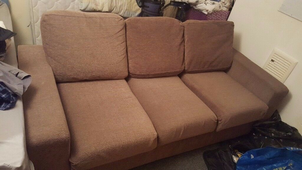 Brown Corduroy Sofa Hardly Used Easy To Transport As Comes Apart Very Easily