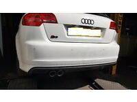 "Audi S3 3"" Twin Slash Cut Exhaust Back Box Delete taken off a 2011 Model"