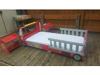 Fire Engine Toddler Bed with Mattress