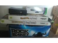 Xbox 360 rock band drums guitar hero kinect AND games