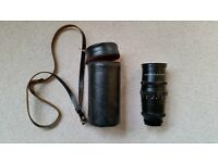 Pentacon 4/200 15 Blade Telephoto Lens with Leather Case