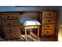 Solid pine wood dressing table and chair