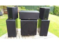 Teac 5.1 speaker system active sub + Kenwood Surround Sound Amp tuner.