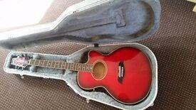 aria electric pickup acoustic guitar plus hardcase, strap, capo, plectrums