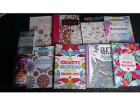 9 x Adult / Advanced Colouring Books plus 100 Pensils , All are in excellent condition
