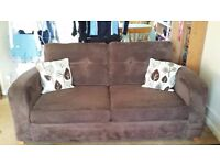 DFS 3 Seater Sofa bed, Huggle Chair + footstool