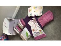 Cot bedding, curtains, toy box &a changing mat