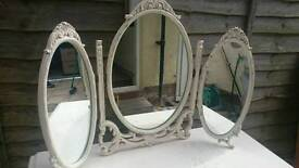 Moulded frame triple dressing table mirror
