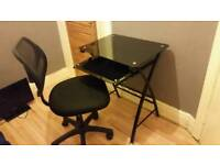 Black Glass Desk & Office Chair