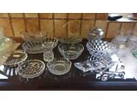 Job Lot Vintage Pressed Glass Bowls Etc