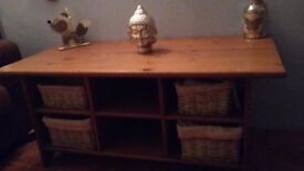 Solid oak storage table