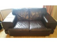 DFS Brown Leather 3 + 2 Sofas