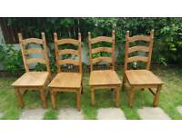 Corona Dining Chairs 4 Mexican Solid Pine 3 Slat