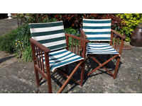 Two Solid Wood, Collapsible Garden Chairs