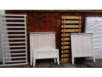Full size cot (wood) with mattress, converts to child bed