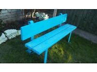 VINTAGE GARDEN BENCH IRON SIDES BLUE HEAVY SOLID