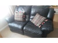 leather 2 seater recliner sofa Dark Blue