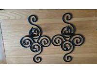 Black Metal Wall Candle Holders Scones