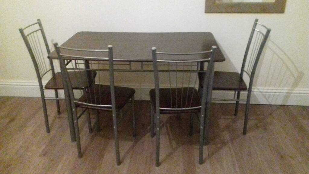 Dark Brown Wooden Effect Dining Table With 4 Chairs In