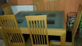 Dining table, double glazed,, 6 chairs