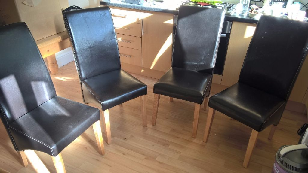 4 X Dining Chairs Brown Faux Leather In Milnrow Manchester Gumtree