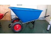 Large plastic twin wheeled barrow 140L