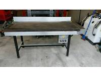 3 phase hot plate / griddle in good working . Solid work bench. Garage. Workshop. Bakery items.