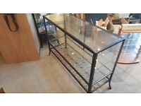 Black metal and glass shelf display unit - heavy
