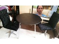 ROUND TABLE 90cm and TWO SWIVEL CHAIRS. EXCELLENT CONDITION