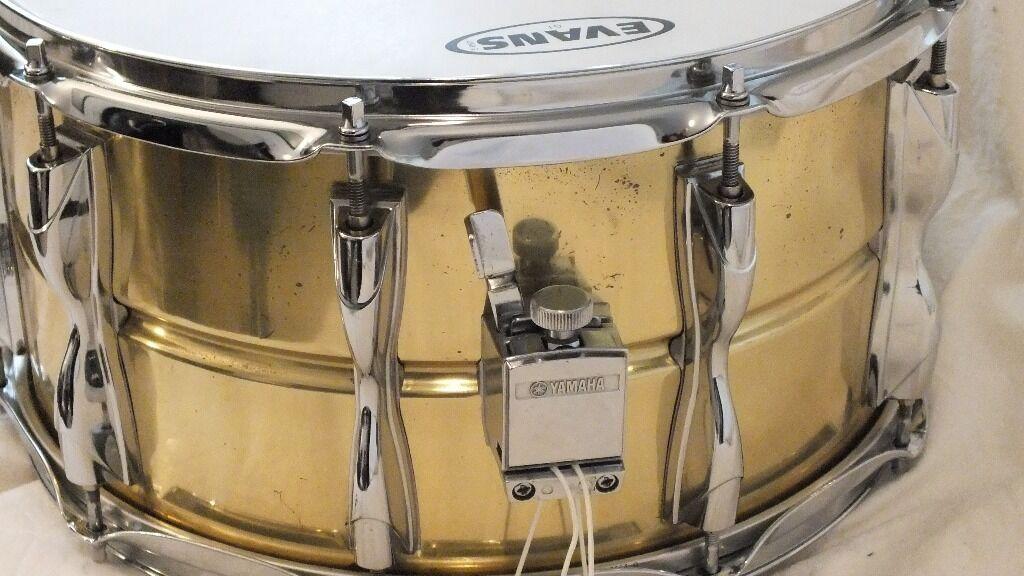 yamaha 80s vintage 14x8 brass 9000 recording custom type series snare drum in hatfield. Black Bedroom Furniture Sets. Home Design Ideas
