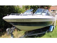 Four Winns Freedom 150 speed boat with Evinrude 70 hp and good recent trailer