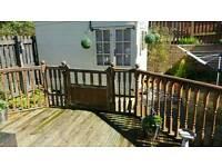 Garden decking spindles, hand rails and 2 gates