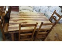 Rustic Sheesham Wood Dining Table & 6 High Back Chairs