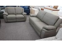 New Ex Display ScS Libra Grey Leather 3+2 Seater Sofas Can Deliver View Hucknall Nottm