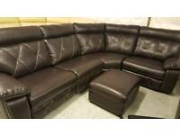 Dark brown endurance leather 4 pieces electric reclining corner sofa + footstool