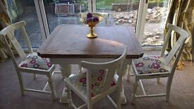 Shabby Chic Draw Leaf Table and 4 Chairs