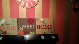 """Fabric. Embroidered """"home sweet home"""" frames"""