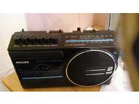 vintage Philips D7172 - Blue Radio/Cassette Recorder