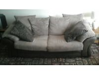 Three seater settee one arm chair one puffet with storage