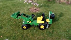 Rolly Toys John Deere Tractor with front & rear buckets