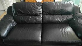 3 and 2 seater black leather sofas in good condition for sale £160 ONO