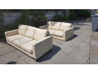 3 Seater Cream Leather Sofas X2 50.00 For Both Very Comfortable Bargain Price
