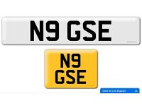 N9 GSE private cherished personalised personal registration plate number