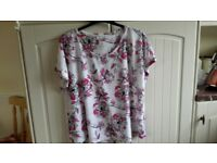 M and S soft Cotton size 24 ladies pink and white patterned cap sleeved Tee shirt.