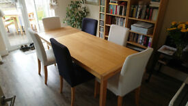 IKEA Extending Dining Table and Six Henriksdal Chairs
