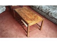 Wooden coffee table with tiled top
